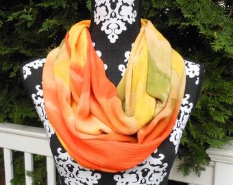 Soft Tropical Orange, Yellow and Green Gauze Infinity Scarf