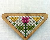 Cross Stitch Spring Floral Brooch and Pendant in one