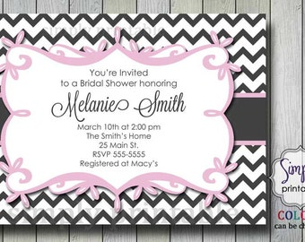Pink Gray Chevron Bridal Shower Invitation