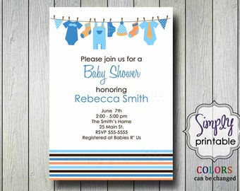 Baby Shower Invitation Clothesline