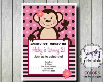 Monkey Birthday Invitation for Girls