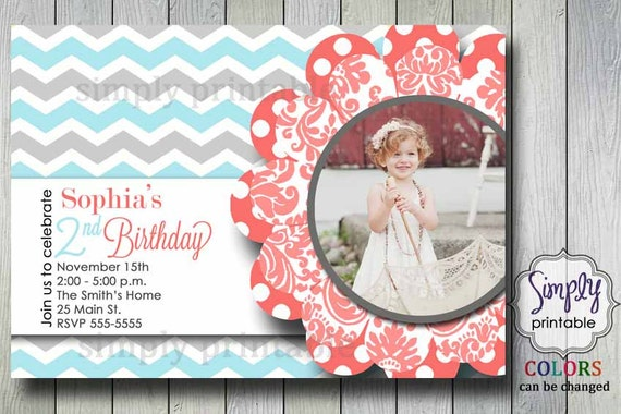 Chevron Girls Birthday Invitation