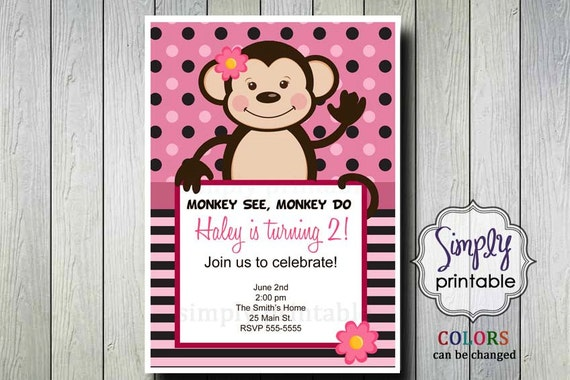 Monkey Birthday Invitation for Girls
