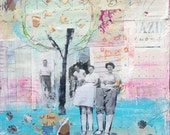 """Original Mixed Media Collage- """"Our Joy - Spring is Here""""  Collage Art, paper collage, pink and blue collage by Angela Petsis"""