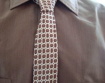 1960's Patterned Skinny Tie in Brown, Cream and Black