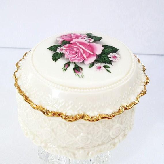 Vintage Pink Rose Music Box, Porcelain Keepsake Box, Jewelry Trinket Box, Memory Box