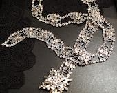 D&E Juliana Bridal Belt Silver w/ Clear Glass Diamond Rhinestones Vintage Wedding Accessories Jewellery isj