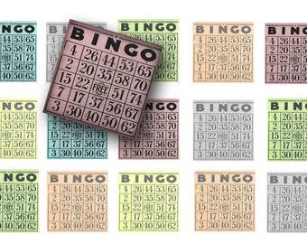 Vintage Bingo cards digital download- 1 inch Bingo squares-Bingo digital collage sheet-Inchies-Magnet making