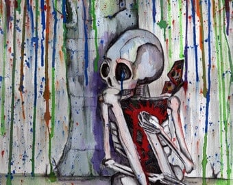 RAIN- Skeleton with bleeding Heart & Butterfly original Watercolor Art Photo Print