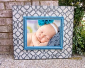 Moroccan Distressed Picture Frame, Dark Gray / Linen / Desert Turquoise