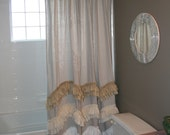 Drop Cloth Shower Curtain in Natural with 3 Wave Ruffles in White, Off White & Tea Dye Muslin