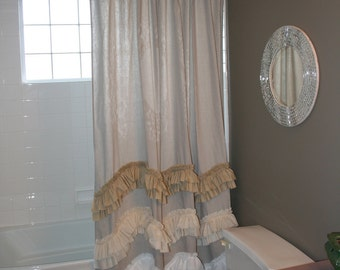 Drop Cloth Shower Curtain in Natural with 3 Wave Double Ruffles in White, Off White & Tea Dye Muslin
