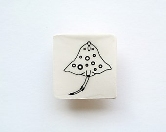 Pin Brooch with Stingray Fish - Handcrafted Porcelain Badge