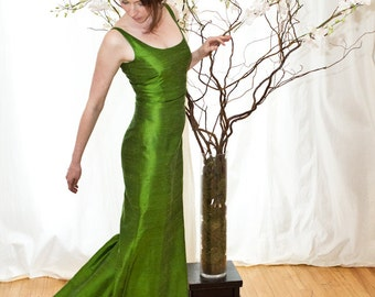 Apple Green Scooped Neckline Long Shantung Trumpet Dress-Custom Made to Order