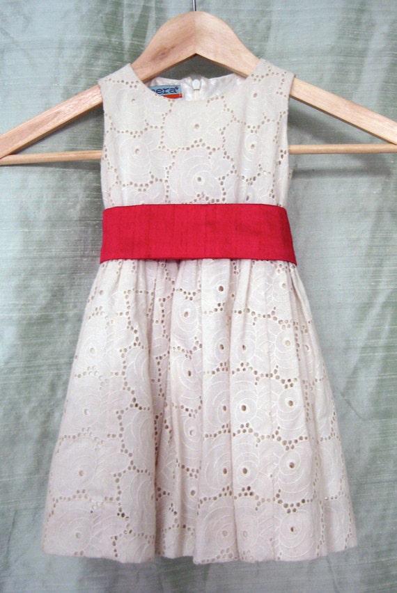 Eggshell Cotton Eyelet Flower Girl Dress with Shantung Sash