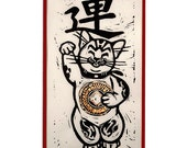 Good Luck Cat, Maneki-neko, holds gold leaf coin, Japanese symbol for Good Fortune, print, linocut