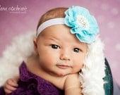 Baby Flower Headband- Baby Headband- Aqua Flower Headband- Baby Girl Headband- Newborn Headband