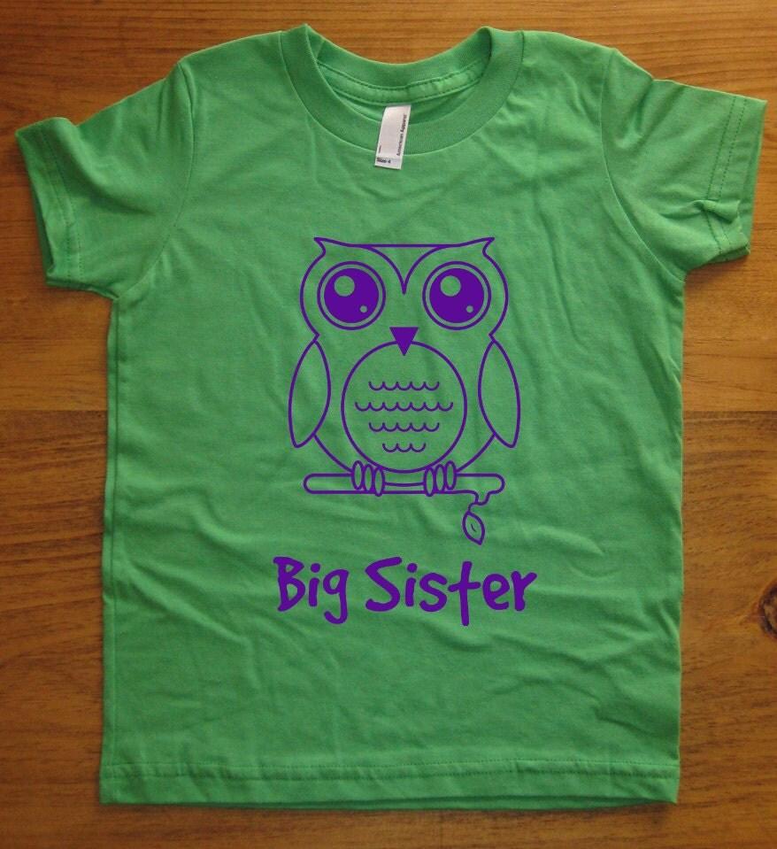 big sister shirt 8 colors available kids owl big sister t. Black Bedroom Furniture Sets. Home Design Ideas