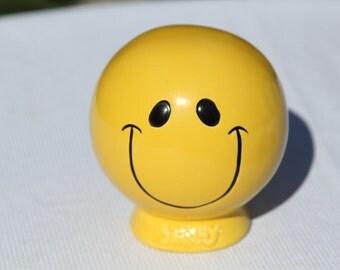 Vintage Yellow Smiley Face Coin Bank