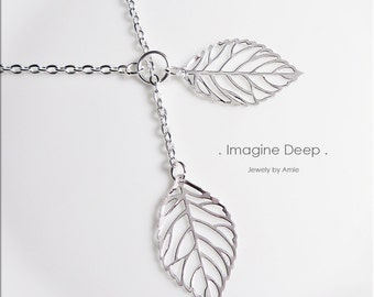 50% off SPECIAL - Silver Leaf Lariat Necklace - Silver Plated Leaves