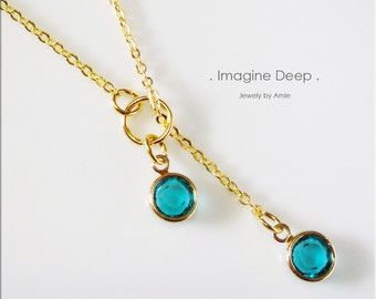 50% off SPECIAL - Turquoise Aqua Blue Lariat Necklace - Gold Plated Blue Topaz-Like Swarovski Crystal