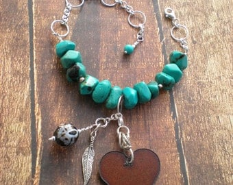 Darlin', I'm Charmed bracelet, rustic iron heart, Valentine's Day, turquoise, sterling silver, feather, unique jewelry by Grey Girl Designs
