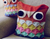 Owl Knit Pattern PDF - Animal Decorative Pillow or Toy - Instant DOWNLOAD