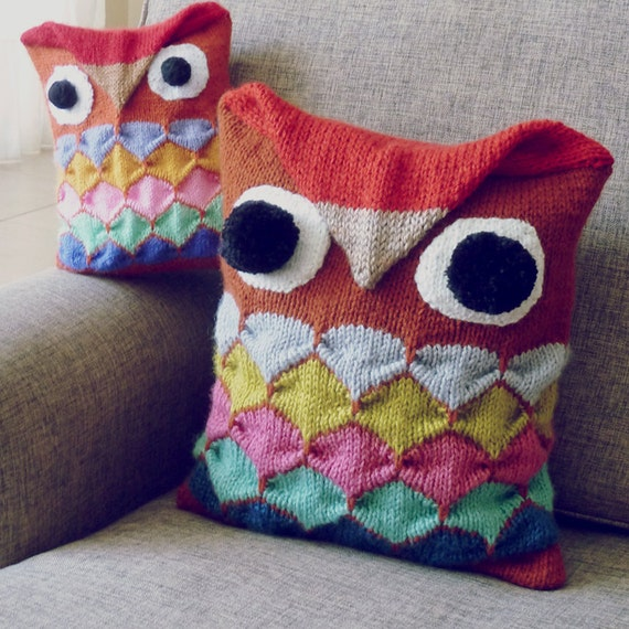 Owl Knit Pattern PDF Animal Decorative Pillow or Toy by bySol