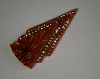 Vintage 1930s Bakelite Rhinestone Jewelry - Fur or Dress Clip - Art Deco Fashions