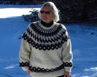 Handknit, Warm White, Nordic Design, Unisex, Lopi Wool Sweater, Size: M - L