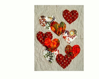 red heart wall textile art, art to frame, love heart wall art, red heart soft art, red hearts home decor, gift for couple