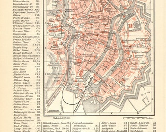 1894 Original Antique City Map of Danzig, Gdansk as a Part of the German Empire