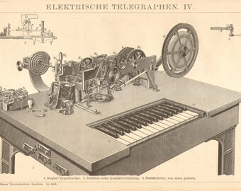 1896 Hughes Printing Telegraph Original Antique Engraving to Frame