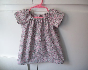 Baby Girl, Peasant Dress, infant size Small 13 to 15 pounds, Ready to Ship, Sample Sale