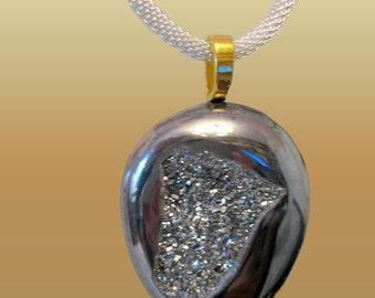 Titanium Silver  Druzy Agate Large Modern Pendant Fashion Jewelry