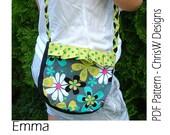 """Shoulder Bag PDF pattern cross body hipster- """"Emma"""" instant digital download by ChrisW Designs"""