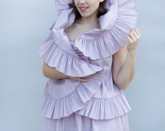 Vintage 1980s Dress - Hyacinth - Pale Lilac Taffeta Deadstock Victor Costa Ballgown with Bolero