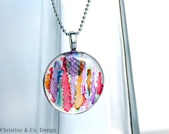 Abstract Design with Alcohol Inks on a Round Glass Pendant