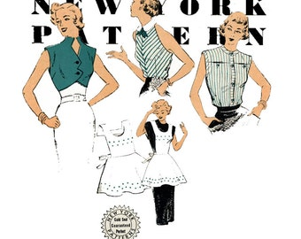 1950s Blouse Pattern New York 1069 Bust 34 Sleeveless Blouse Apron & Cropped Bolero Jacket Womens Vintage Mail Order Sewing Patterns