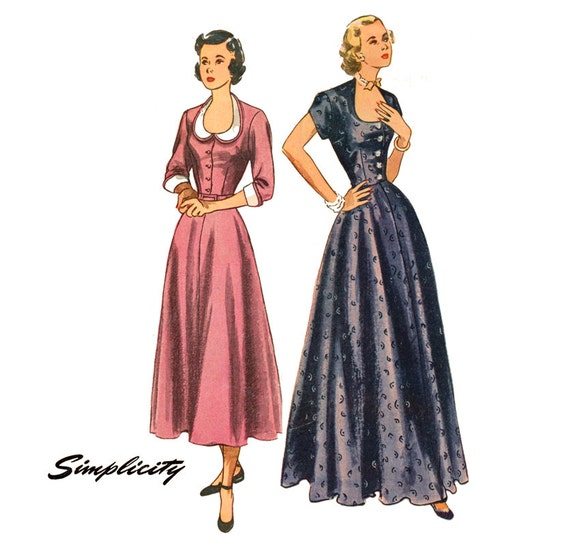 1940s Dress Pattern Simplicity 2741 Misses Day or Evening Dress Detachable Collar and Cuffs Womens Vintage Sewing Pattern Bust 36