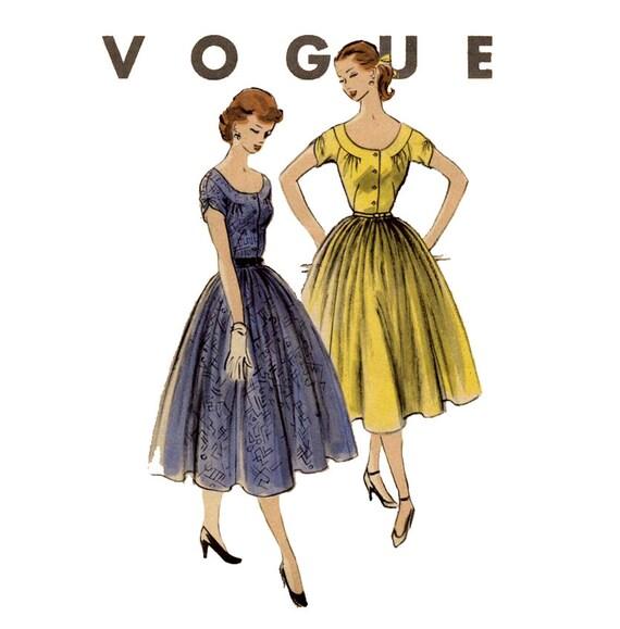 1950s Dress Pattern Vogue 3517 Junior Scoop Neck Full Skirt Summer Day or Evening Dress Womens Vintage Sewing Pattern Bust 30.5