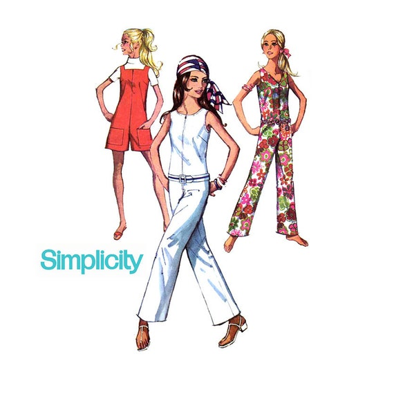 1960s Jumpsuit Pattern Simplicity 8198 Bust 36 Womens Vintage Sewing Pattern Romper Playsuit Two Lengths Three Necklines Mod
