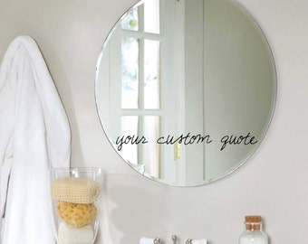FREE SHIPPING Custom Mirror Text Quote Decal - Choose the font style, size and color!