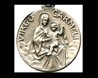 "Our Lady of Carmel and the Sacred Heart of Jesus Vintage Jewelry Religious Medal Pendant on 18"" sterling silver rolo chain"