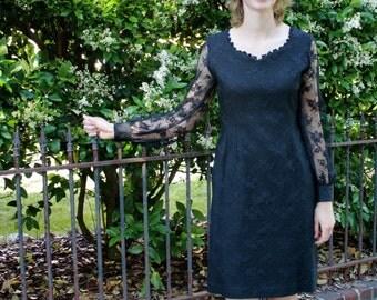 1980s Black Lace Dress with Sweetheard Neckline