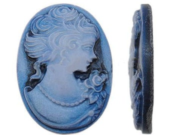 3 pieces Blue Victorian Resin Cameo Cabochons  18mm x 25mm ... Attach to Pins, Rings, or Pendants -- G3