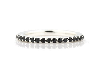 AAA Natural 1/4 ct  Black Diamond Wedding Band Ring 14k White Gold-Specail -  Gem338