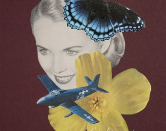 Collage Art, One of a Kind, Surreal Art, Retro Art, OOaK Collage, Butterfly Art, Unusual Art, Unique Wall Art