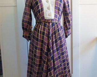 Purple Plaid Dress / 1970's / small