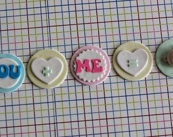 Baby Announcement Tell Your Love in Cupcakes Fondant Cupcake Toppers